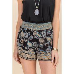 Petunia Metallic Printed Soft Shorts ($15) ❤ liked on Polyvore featuring shorts, black and metallic shorts