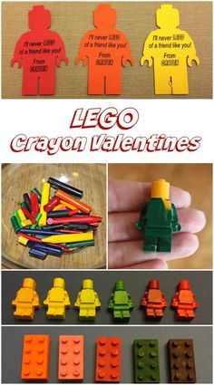 These LEGO Crayon Valentines are a perfect non-candy Valentine made from broken crayons. Great for a LEGO birthday party favor too! Valentines Day Gifts For Toddler Boy, Lego Valentines, Toddler Boy Gifts, Homemade Valentines, Valentine Day Cards, Valentine Ideas, Toddler Crafts, Kids Crafts, Lego Birthday Party