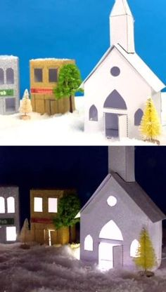 Make your own Christmas village out of glitter paper! Print the templates on Babble Dabble Do.