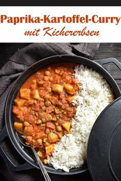Paprika potato curry with chickpeas, made quickly and eas Healthy Dinner Recipes, Vegetarian Recipes, Healthy Lunches, Potato Curry, Evening Meals, Crockpot Recipes, Salad Recipes, The Best, Easy Meals