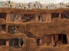 Здесь все ловко устроено для жизни: есть вентиляционные шахты, жилые кварталы, стойла для скота, кухни с печами, столовые, винные погреба, амбары, школы, магазины, храмы и кладбища.