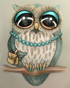 Elegant Owl by vian. Lady owl with teal eye-shadow. Handbag on her wing Owl Pictures, Beautiful Owl, Owl Crafts, Wise Owl, Pics Art, Painted Rocks, Painted Canvas, Art Drawings, Artsy