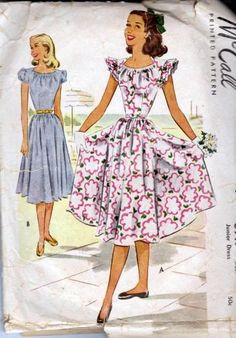 McCall 6917 Misses Junior Party Swing Dress Full Skirt Ruffled Cap Puff Balloon Style Sleeves Vintage Pattern Vintage Inspired Fashion, 1940s Fashion, Vintage Fashion, Vintage Outfits, Vintage Dresses, Vintage Clothing, Vogue Patterns, Dress Patterns, Mccalls Patterns