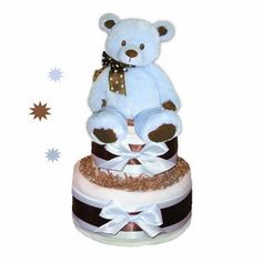 Baby gifts nappy cakes baby shower gifts baby hampers baby baby bear diaper cake blue negle Image collections