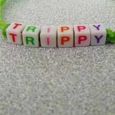 'Trippy' Hippy Beaded Word Friendship Bracelet - Festival Jewellery