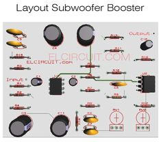 Subwoofer booster circuit with PCB Layout - Electronic Circuit Best Subwoofer, Powered Subwoofer, Electronic Circuit Design, Electric Circuit, Audio Amplifier, Speakers, Digital Audio, Electronics Projects, Technology