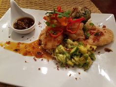 Shrimp onion broccoli sweet potato tempura over a bed of leek garlic ginger fried rice with  avocado mango jalapeño salad with red pepper garlic jalapeño jelly and a tempura dipping sauce garnished with peppers scallions leeks and fried ginger #pic #picoftheday #cookingtime #cook #chef #choices #lovefood #beautiful #beauty #foodlover #foodlovers #foodporn #foodie #foodies #passion #plate #plating #theartofplating #foodphotography #foodphoto #foodgasm #yummy #homemade #delicious #foodphoto by…