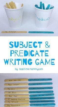& Predicate Writing Game Subject & Predicate Writing Game from craft sticks for elementary students!Subject & Predicate Writing Game from craft sticks for elementary students! Grammar Activities, Teaching Grammar, Teaching Language Arts, Teaching Writing, Student Teaching, Writing Activities, Subject Predicate Activities, Writing Games For Kids, Writing