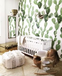 cactus wallpaper in a nursery. could this bohemian, gender neutral nursery get any cuter? Boho Nursery, Nursery Neutral, Nursery Room, Kids Bedroom, Nursery Murals, Neutral Nurseries, Jungle Nursery, Nursery Modern, Decor Inspiration
