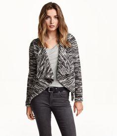 Draped fine-knit open cardigan in black & white melange. | Warm in H&M