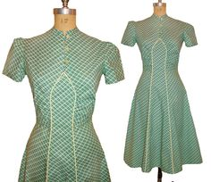 1930s Style Green Plaid Cotton Dress Made from Vintage Pattern in Feedsack Print size Small. $125.00, via Etsy.