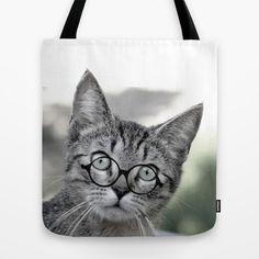 Old Lady Cat with Glasses Tote Bag