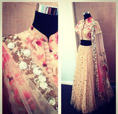 Beige Embellished #Lehenga With Floral #Blouse.