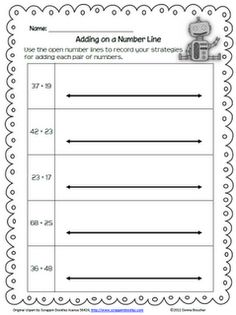 Math Coach's Corner: Open Number Line Addition - here's the handout...