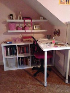 Desk made from ikea Kallax, linnmon top. Like this configuration for under the . - Desk made from ikea Kallax, linnmon top. Like this configuration for under the … Ikea Kallax Desk, Ikea Linnmon Desk, Ikea Corner Desk, Counter Height Table Sets, Desk Hacks, Ideas Dormitorios, Ikea I, Ikea Furniture, Family Room