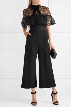 Self-Portrait | Paisley velvet-trimmed embroidered tulle and crepe jumpsuit | NET-A-PORTER.COM