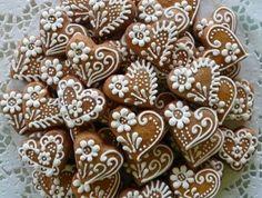 Honey Cookies, Iced Cookies, Fun Cookies, Cookies Et Biscuits, Cupcake Cookies, Sugar Cookies, Heart Cookies, Decorated Cookies, Christmas Food Gifts