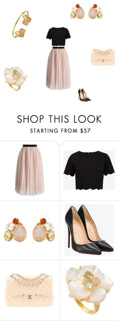 """""""Powder pink"""" by bounkitnyc ❤ liked on Polyvore featuring Chicwish, Ted Baker, Christian Louboutin and Chanel"""