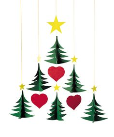 Mobile of 6 Christmas Trees - Baby's Nursery & Decor