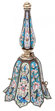 A SILVER AND CLOISONNE ENAMEL POSY HOLDER, MARIA SEMENO Bouquet Holder, Ring My Bell, Metal Vase, Silver Enamel, Antique Silver, Russian Art, Miniture Things, Decorative Bells, Glass Art