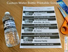 Printable Custom Water Bottle Wrapper PDF Template - Print at Hotel Custom Water Bottles, Water Bottle Labels, Hotel Housekeeping, Customer Engagement, Hotel Guest, Label Templates, Sales And Marketing, Improve Yourself, Printables