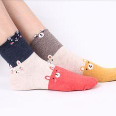 3tone ANIMALS socks 5pairs=1pack women girls teenagers cute funny awesome fashion socks