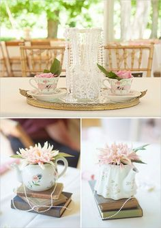Tea Party Inspired Wedding photographed by Seriously Sabrina Photography and catered by UpperCrust. Tea Party Theme, Tea Party Wedding, Vintage Wedding Theme, Brunch Wedding, Wedding Prep, Our Wedding, 60 Wedding Anniversary, Anniversary Parties, Flower Decorations