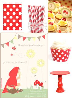 Paint My Party: Red and White Little Red Riding Hood Birthday Party Ideas 3rd Birthday Parties, Girl Parties, Free Birthday, Red Riding Hood Party, Little Red Ridding Hood, Bird Party, Woodland Party, Party Treats, Party Printables