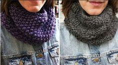These instructions don't just tell you how to knit a cowl--they tell you how to make a whole collection of thick, quick-to-knit cowls. These Jumbo Stitch Chunky Cowl Patterns use large needles (size 15 and up) and super-bulky yarn.