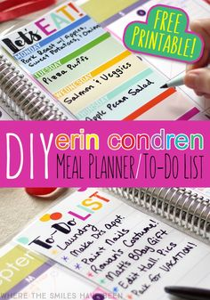 DIY Erin Condren Snap-In Meal Planner/To-Do List & FREE Printable! (might of ruined mine with sharpie! Free Planner, Meal Planner, Printable Planner, Happy Planner, Planner Stickers, Free Printables, Planner Diy, Study Planner, 2016 Planner