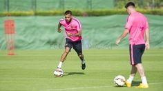 Entrenamiento con Messi, Mascherano y Alves | FC Barcelona