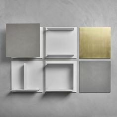 online furniture  store  ·Wall-mounted shelf / contemporary / wooden / lacquered metal - SQUARE by Bruno fattorini - MDF Italia archiexpo.es
