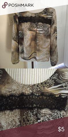 Leopard crop top. Medium Sheer leopard crop top. Black lace across top. Peasant sleeves with elastic at bottom. Never worn. NWT Belle du jour Tops Crop Tops