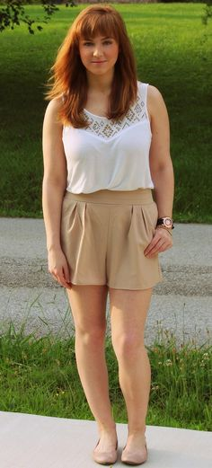 Khaki high waisted shorts + white tank top + nude flats //summer look, fresh look, classic color combination