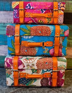 DIY Fabric Covered Vintage Suitcases for Storage