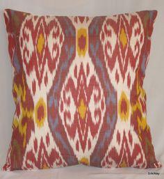 18x18 Silk cotton Uzbek Ikat Pillow case - handloom ikat fabric and hand dyed. $14.99, via Etsy.
