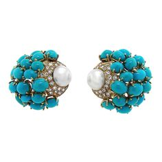 Persian Turquoise, Diamond, and Pearl Earrings