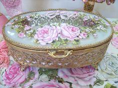 Vintage Filigree Jewel Box Hand Painted Roses