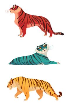 """dailycatdrawings: """"538-540: Stripey Babies Making up for the last few days with some quick tigers. """""""