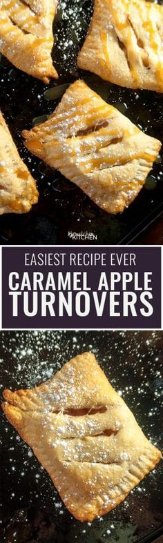 Caramel Apple Turnovers - this is the easiest recipe ever! Two ingredients for apple hand pies and three to add the caramel. Gotta love easy dessert recipes!