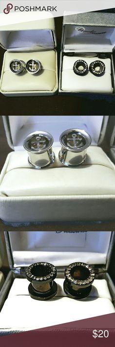 2 Pair Stainless Steel Flesh Tunnel Plug Earrings 2 Pair Stainless Steel Wide Gauge Ear Flesh Tunnel Plug Earrings. Anchor Design and Black Enamel Bling. $20 for both or $12 Each Pair Jewelry Earrings
