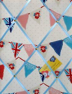 Medium Fryetts Blue Union Jack Bunting / Flag Hand Crafted Fabric Notice / Memory / Pin / Memo Board £14.99