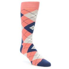 Coral Navy Argyle Wedding Groomsmen Men's Dress Socks by Statement Sockwear