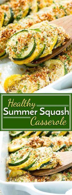 Healthy Summer Squash Casserole Healthy Squash Casserole with Zucchini and Yellow Squash Quick Side Dishes, Healthy Side Dishes, Vegetable Side Dishes, Side Dish Recipes, Vegetable Recipes, Vegetarian Recipes, Cooking Recipes, Healthy Recipes, Cooking Bacon