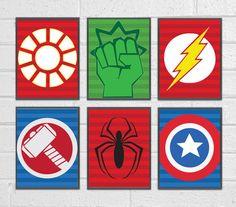 Set of 6 Superheroes Wall Art Superhero Art by AdorablePrintables, $12.00