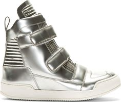 Balmain - Silver Patent Leather High Top Sneakers