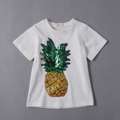 New Summer 2017 Baby T Shirts for Girls Cotton Short Sleeve Pineapple Beads Tees Top for Kids Boy Cute Fruits Tops Girl T-shirt