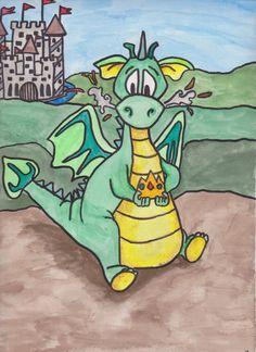 Cute dragon art, kids, dragons. Original Dragon Painting 9 x 12 Cute Dragon for by WhenAngelsDraw, $35.00