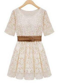 Pretty A Line Design Round Neck Lace Dress