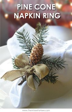 Easy Christmas Decor - Pine Cone Napkin Rings Remember doing these when I was younger.